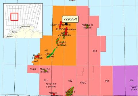 GJORDE FUNN: Her, i brønnen 220/5-3 (markert med svart prikk), fant Equinor olje. Illustrasjon: Oljedirektoratet