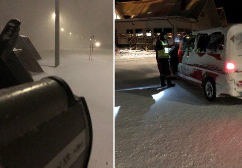 SE, EN LASER! Her står UP-betjenten fra Troms i veikanten i Longyearbyen med lasermåleren, et instrument Sysselmannen ikke er i besittelse av. I snøkovet ble hele 29 sjåfører stoppet for fartsovertredelser. Foto: Utrykningspolitiet