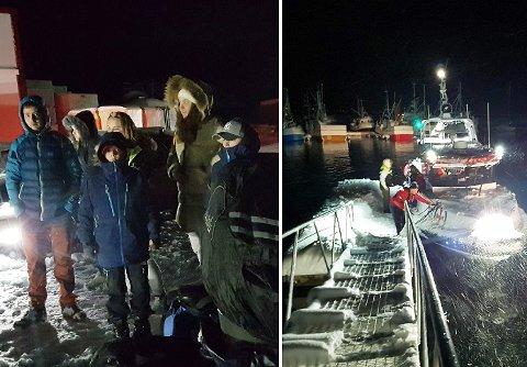 EVAKUERTE: Her venter innbyggerne  på å bli tatt med i båt til Tromsø. Foto: Karl Alberth Hansen