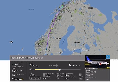 1:19: Skjermdump fra Flightradar24.com