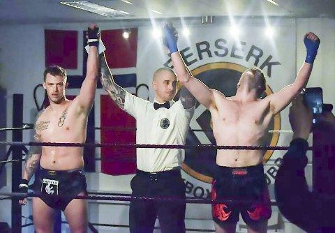 STORFORNØYD: Herman Brønlund (til høyre) var naturligvis glad etter debuten.FOTO: Michael Birkeland