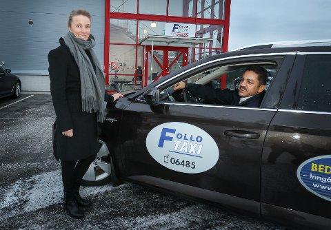 LOVLIG: Siw Haraldsen og Rebwar Mahmud i Follo Taxi følger det nye lovverket. - Vi kommer til å gjennomgå hjemmesiden vår, for å se om det er forbedringer vi kan gjøre.