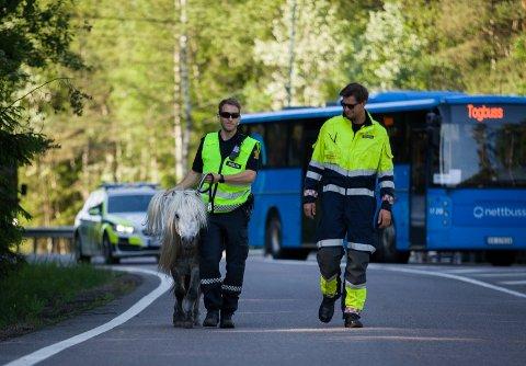 Politibetjent Iver Mustorp geleider Porsche inn på rasteplassen ved E18.