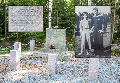 KRIGSHELT: I Kongsvinger står et minnesmerke over Rolf Sannes som falt i kamp mot tyskerne november 1944. I Sverige ventet hans kone Anne som da var gravid, mens datteren Berit var i Larvik.