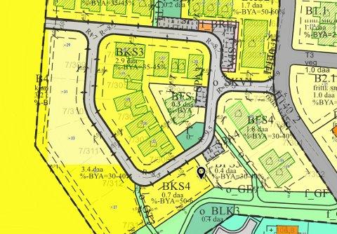 Nye Fladstad: Hele Fladstad utbyggingsområde B4 (Parkstien) er nå regulert til konsentrert småhusbebyggelse.