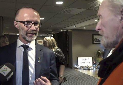 Rystet: – Jeg er rystet over tankegangen. Men jeg legger ikke skylda på Eggesvik, sier aksjonist Birger Johannesen fra Lurøy, som møtte fylkesråd Svein Eggesvik. Skjermdump