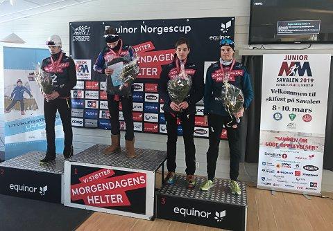 PÅ PALLEN: Preben Horven, B&Y IL, på delt bronseplass i NM i langrenn. Det er sjelden kost for en lokal løper.