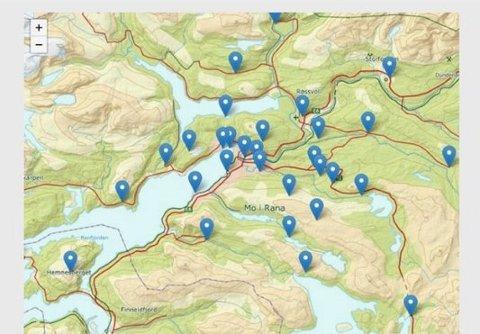 Her er noen av stedene det er lagt ut poster i Rana.