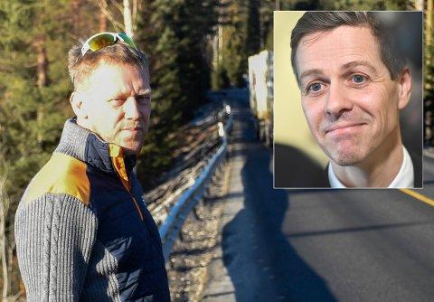 BA OM TILTAK: Jarle Heiene hadde aldri sett E16 i Ådal så dårlig som da han møtte Ringerikes Blad i februar. Nå har Knut Arild Hareide satt av ekstra midler til å utbedre strekningen.