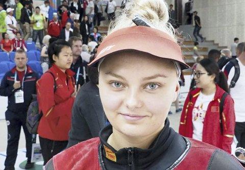 Sterk sjuendeplass: Jenny Stene (20) er fortsatt junior, men skjøt seg til VM-finalen for seniorer.