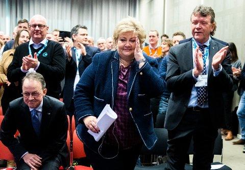 Statsminister Erna Solberg fikk spørsmål om regjeringskabalen etter å ha talt på konferansen Arctic Entrepreneur 2020 på Hotel Clarion på Gardermoen. Foto: Berit Roald / NTB scanpix