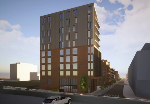 ENDRET: Det 11 etasjer høye signalbygget mot Skiringssalveien var opprinnelig tenkt med boliger fra femte etasje og oppover. Etter høringsrunden er dette endret til næring fra topp til tå. (Illustrasjon: PC Arkitekter)