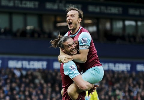 """Britain Football Soccer - West Bromwich Albion v West Ham United - Barclays Premier League - The Hawthorns - 30/4/16 West Ham's Mark Noble celebrates scoring their third goal with Andy Carroll Reuters / Eddie Keogh Livepic EDITORIAL USE ONLY. No use with unauthorized audio, video, data, fixture lists, club/league logos or """"live"""" services. Online in-match use limited to 45 images, no video emulation. No use in betting, games or single club/league/player publications.  Please contact your account representative for further details."""