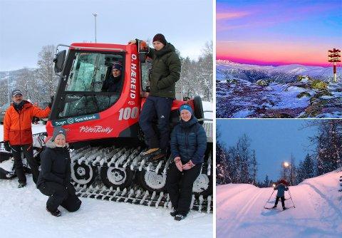 PÅ PLASS: Endeleg er den nye tråkkemaskina på Seimsåsen aktivitetssenter på plass. Ivar Jevnaker (ÅTIL), Marianne Sundal (Sogn sparebank), Stian Gundersen Vee (ÅTIL), Even Gundersen Vee (ÅTIL) og Stine Fossen (Sogn Sparebank) er godt nøgde. Til venstre er bilete frå Bjørnaholten og lysløypa.