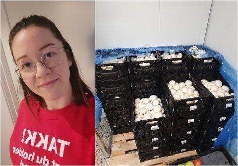 SOPP: Kasse på kasse med sopp står på fruktlagert til Coop Extra i Sogndalsfjøra.
