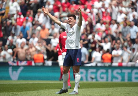 Englands Harry Maguire under kampen mot Sveits 9. juni.