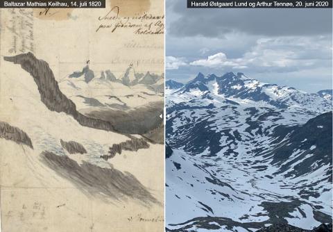 """Før og nå: Her ser vi Baltazar Mathias Keilhaus´ tegning av fjell i Jotunheimen den 14. juli 1820, og foto fra samme sted i dag, 200 år senere. Det er journalist Live Vedeler Nilsen som har laget dette """"før og etter""""-bilde."""
