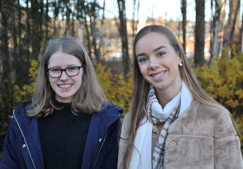 EGETSELSKAP:Daglig leder Elise Aabel (14, t.v.) og selger Emilie Steinkjer (14) i elevbedriften Hakadal Landhandleri AS.