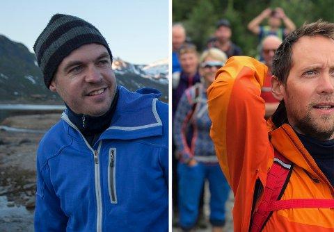 UTE I NATUREN: Thomas Eskeland (38) (til venstre) og Tarjei Kårfald (41) vil koble folk som er glad i å være på tur. Derfor startet de selskapet Fjelltid AS.