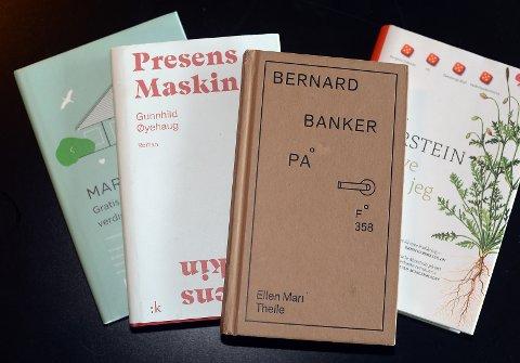 Noen av de nominerte bøkene, med vinner Bernard banker på, av Ellen Mari Thelle.