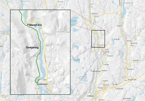 OMKJØRING: Beboere langs Røyselandsveien nordvest for Kvinesdal må fra 14. mai ta av på Storekvina og kjøre via Midtre Røynestad og Hagan for å komme seg til og fra Liknes.