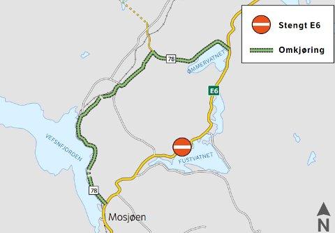 Omkjøring er skiltet langs fv. 78 gjennom Drevjadalen