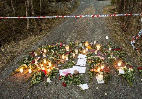 Minnes: I dagene etter drapet på Lysekloster strømmet det på med lys, tegninger og minneord. Avdøde var svært godt likt i lokalsamfunnet.