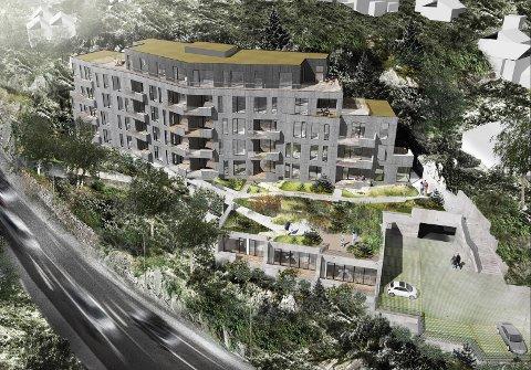 FEM ETASJAR: Det er planlagt ei bustadblokk ved Jernbaneveien med 25 bustader fordelt på fem etasjar. I tillegg er det teikna inn tre bustader i rekkje føre parkeringskjellaren.