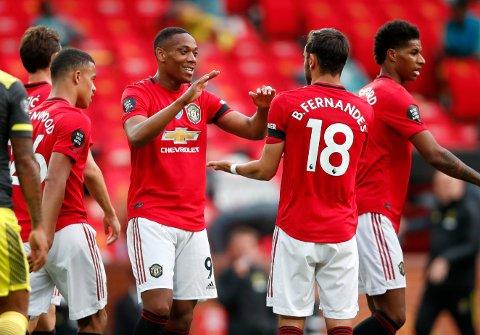 FANTASY: Manchester Uniteds angrepsrekke med Mason Greenwood, Anthony Martial, Bruno Fernandes og Marcus Rashford kommer garantert til å bli populære Fantasy-valg. Men rødtrøyene starter sesongen uten kamp i første runde.