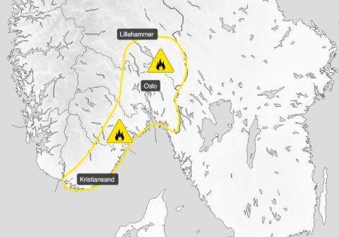 FAREVARSEL: Meteorologisk Institutt har sendt ut farevarsel som strekker seg både over Sør- og Østlandet.