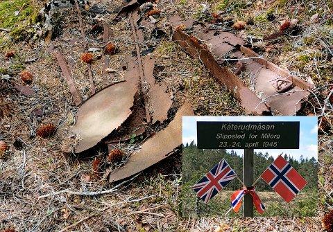 Flydroppet over Østmarka i 1945 ble nylig minnet på Kåterudmåsan. Fortsatt ligger det rester etter de 27 containerne som ble sluppet fra to britiske bombefly.
