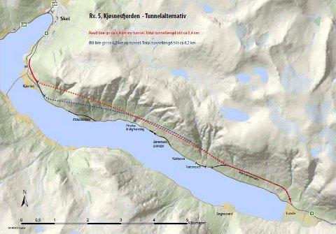 I TUNNEL: Dette var dei aktuelle traséane for den nye tunnelen langs Kjøsnesfjorden, når Vegvesenet presenterte alternativa i 2014.