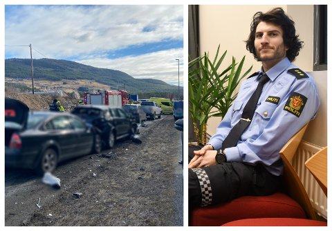 TEK TID: Sondre Lillebostad, straffesaksansvarleg ved Sogndal lensmannskontor seier politiet framleis manglar avhøyr av sikta før dei kan avslutta etterforskinga av kjedekollisjonen på Kaupanger.