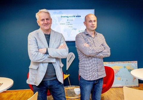 NYE TANKER: Administrerende direktør Morten Lind-Olsen (tv) og CFO Ole Kristian Valvåg i Dualog går nye veier for å få tak i kompetent arbeidskraft.