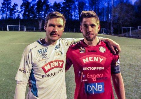 GAMLE LAGKAMERATER: Borres Thomas Utter Jensen (t.v.) og Eiks Kevin Bråthen har spilt sammen i Ørn. Torsdag var de dominerende på hvert sitt lag i seriepremieren i 4. divisjon.