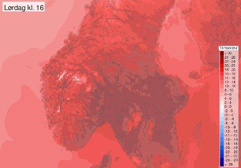 Metorologens prognosekart viser tydelig at drømmehelgen er rett rundt hjørnet. Illustrasjonsfoto: Meteorologisk institutt.