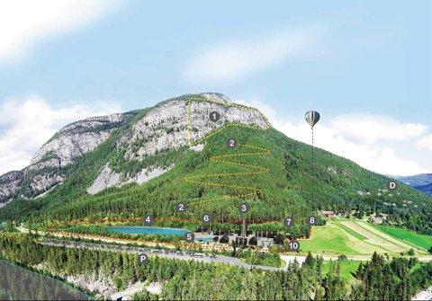 Skisse: Slik tenker de tre raftingsselskapene seg at aktivitetsparken blir. Hengehotell i toppen på Slåberget og sikksakk løype ned igjen, er bare noen av «ingrediensene» i parken. Illustrasjon: Morten Sagstuen, Mosa Designlab