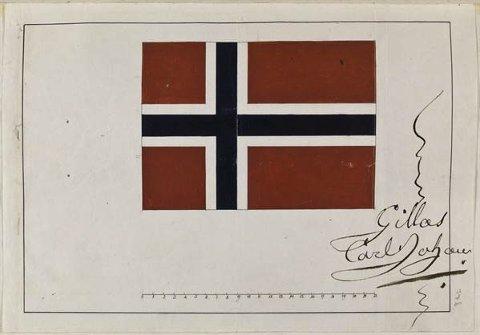 Vinnerutkastet: Fredrik Meltzers forslag fikk Stortingets tilslutning, og kong Carl Johan «gillade» dette som norsk flagg. Foto: Riksarkivet
