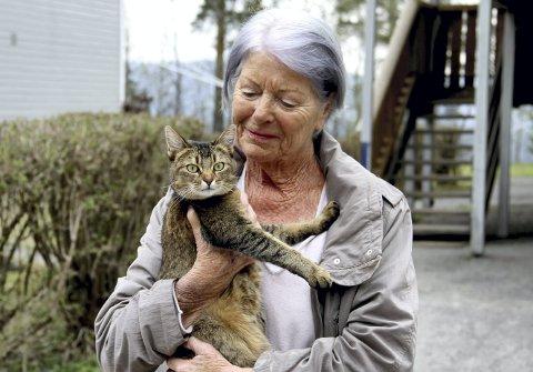 BLE BERGET: Nika fikk ekstra mye godt stell av matmor Hanna Therese Berg onsdag. Katten strittet imot da den ble båret i retning av sin kummerlige påskebolig. Begge foto: Lars Ivar Hordnes