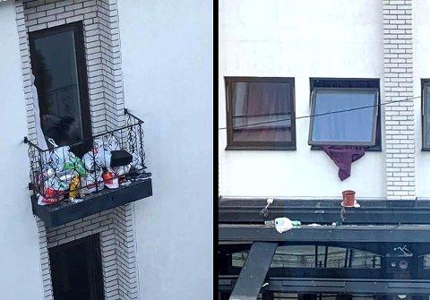SØPPEL: Naboer til Fagerborg Hotel fortviler over at noen av beboerne der bruker balkonger og andre steder som søppelkasser.