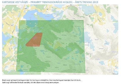 Primært treningsområde i Vestvågøy, i Slydalen. Se kartskisse. Grønt angir primært treningsområde for trening av stridsdriller, hvor markeringsammunisjon kan bli brukt. Rødt angir all ferdsel forbudt område, når det skytes med skarp ammunisjon.