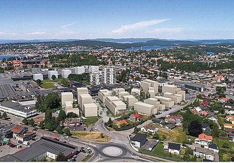 OM 10 ÅR: Slik ser arkitektfirmaet Spir for seg hvordan området kan bli med en boligutbygging på 300 leiligheter. (Sveip til siden for å se neste bilde)
