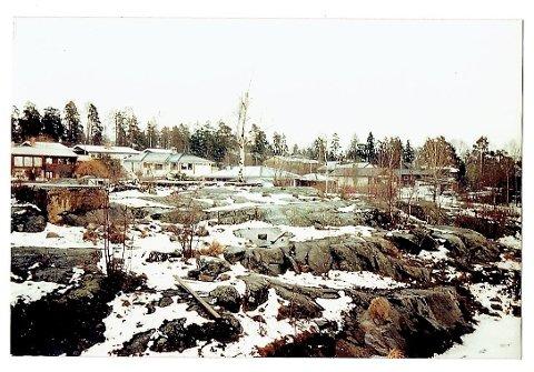 Fra området mellom sørenden av Ivar Knutsons vei og Tyslevveien.  Det grønne var på = 0-punktet våren 1980