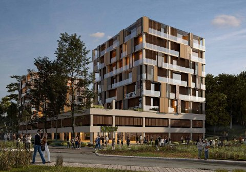 To boligblokker ønskes bygget på toppen av parkeringshuset i Bølerlia 73b. Illustrasjon: A-lab