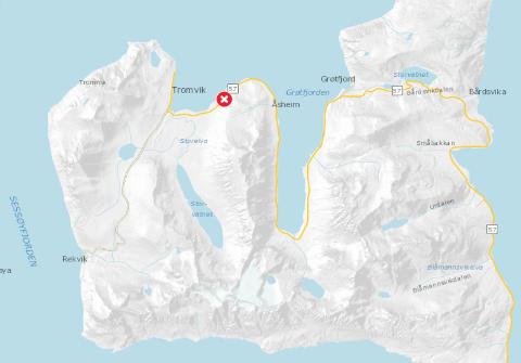 ISOLERT: Rasfaren skiller Tromvik og Rekvik fra resten av verdene - i allefall frem til søndag klokken 12.
