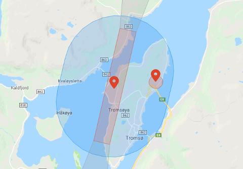 BEGRENSET: Slik ser den geografiske avsperringen ut i Tromsø. De røde områdene kan man ikke fly i uten spesiell tillatelse, mens i de blå områdene vil operatøren få en advarsel før flygning.
