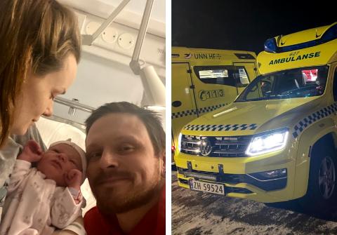 FØDTE I AMBULANSE: Mens ambulansen stod parkert på Circkle K natt til første nyttårsdag, fødte Marianne Varvik (25). Her er hun og Ronny Kjempedal Åsmo (33) sammen med datteren på UNN.