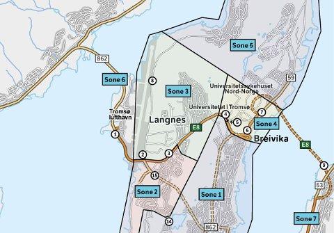 UTSNITT: Slik blir sonene sentralt på Tromsøya.