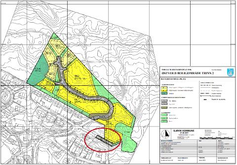 Plankart Østvold boligområde trinn 2. Rød ring viser planlagt utbygging av veg 2.
