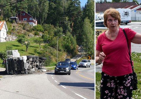 VIL HA TILTAK: Lisa Anny Holm Odden i Tyristrand landsbyforening (til høyre) viste fram problemveien på Tyristrand i juni - blant annet til Erling Rustad fra Statens vegvesen.